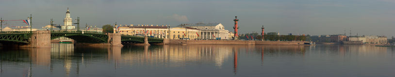 Panoramic photos Island Vasileevsky and the palac Stock Photo