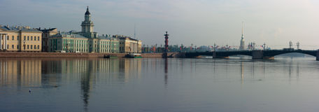 Panoramic photos of quays of St.-Petersburg Stock Photos