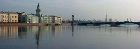 Panoramic photos of quays of St.-Petersburg Stock Photos
