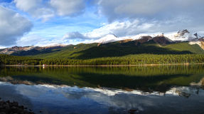 Panoramic picture of beautiful Maligne lake. Jasper national park in Canada Royalty Free Stock Photography