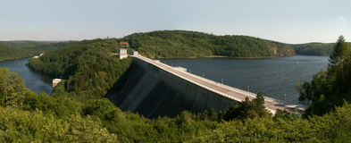 Panoramic picture of Germanys dam Rappbodesperre Royalty Free Stock Photos