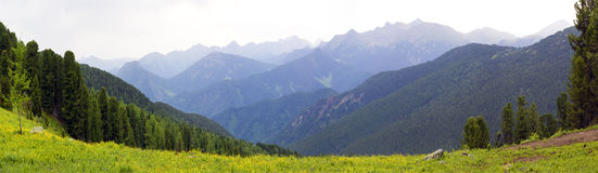 Panoramic picture in high mountains Royalty Free Stock Photography