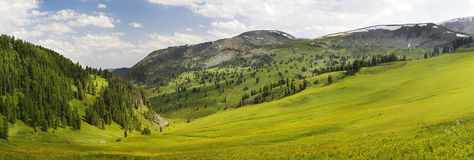 Panoramic picture in high mountains Royalty Free Stock Photo