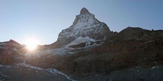 Panoramic picture of Matterhorn peak, Switzerland Royalty Free Stock Images