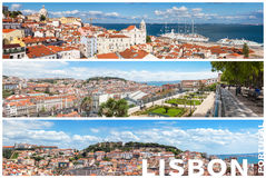 Panoramic Picture Mosaic collage of Lisbon city viewpoints - Mi. Radouros in Portugal stock photo