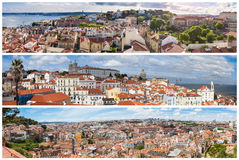 Panoramic Picture Mosaic collage of Lisbon city viewpoints - Mi. Radouros in Portugal royalty free stock image