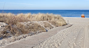 Panoramic picture of path on a beach Royalty Free Stock Photos
