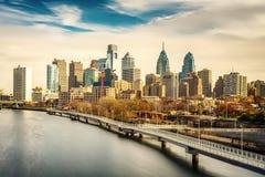 Philadelphia skyline and Schuylkill river, USA. Stock Photos