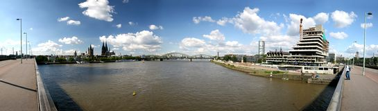 Panoramic picture of river Rhine and Cologne Stock Images