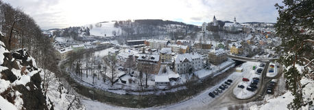 Panoramic picture of Schwarzenberg town in winter Stock Photo