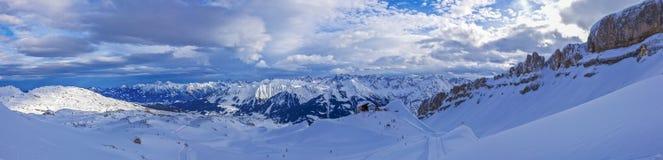 Panoramic picture of ski area Ifen in Austria stock image