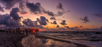 Sunset beach panorama Royalty Free Stock Photos
