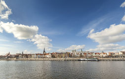 Panoramic picture of Szczecin (Stettin) City riverside, Poland Royalty Free Stock Photos