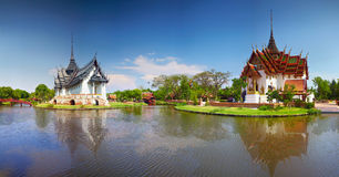 Panoramic picture thai temple Royalty Free Stock Photo