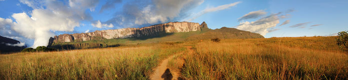 Panoramic picture of the Track to Roraima Stock Photos