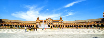Panoramic of the Plaza de Espana, Seville Royalty Free Stock Photo