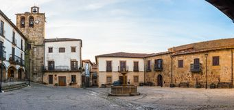 Panoramic Plaza Mayor in San Martin de Trevejo.  royalty free stock photos