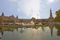 Panoramic of the Plaza of Spain in Seville Stock Image
