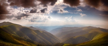 Panoramic from Polonina Borzava (Carpathians, Ukraine) Stock Photo