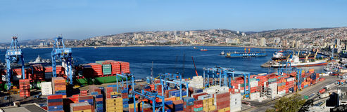 Panoramic of the port city of Valparaiso Stock Photo