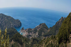 Panoramic Port de Soller, Mallorca. Panoramic views of the bay of Port de Soller, Mallorca in Spain Royalty Free Stock Image