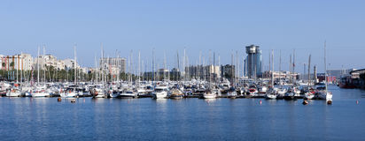 Panoramic Port Vell Barcelona Royalty Free Stock Photos