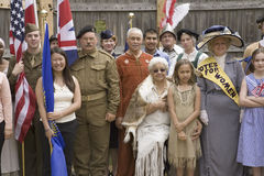 Panoramic portrait of past and present Americans Royalty Free Stock Photos