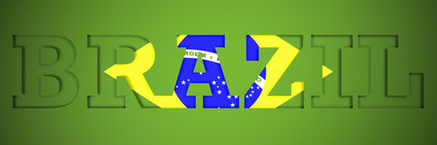 Panoramic Poster of the word brazil Stock Photo
