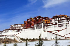 The panoramic of the Potala Palace, with the people republic of China flag inside as well as Potala Palace square, trees and meado Royalty Free Stock Photos