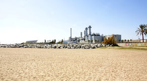 Panoramic power station with the background Royalty Free Stock Image