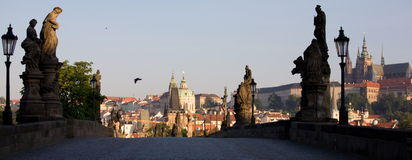 Panoramic Prague view Royalty Free Stock Images