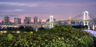 Panoramic Rainbow bridge and Tokyo skyline from Odaiba, Nightview Stock Photos