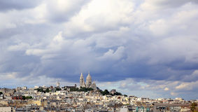Panoramic rainy sky over Montmartre, in Paris royalty free stock images