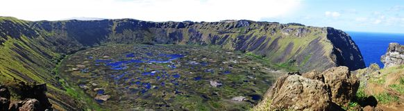 Panoramic Rano Kau Crater, Easter Island Chile stock photography