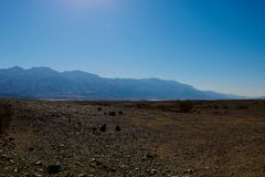 Panoramic red rocky view on Death Valley from Hell`s Gate - California stock images