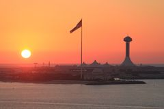 Panoramic red sunset over the Arabian coast Stock Photos