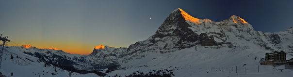 Panoramic red time at Kleine Scheidegg. Switzerland Alps Royalty Free Stock Photo