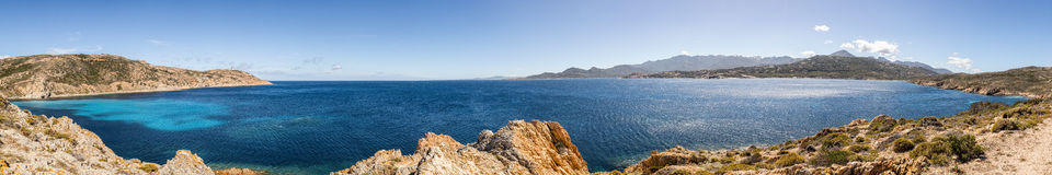 Panoramic of Revellata lighthouse and Calvi in Corsica Royalty Free Stock Image