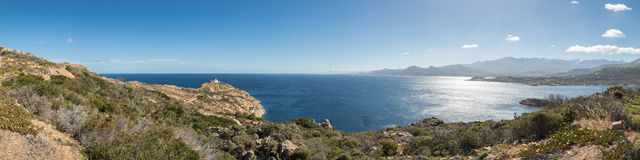 Panoramic of Revellata lighthouse near Calvi in Corsica Stock Photography