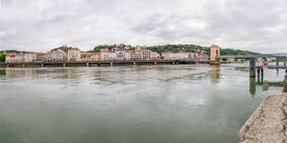 Panoramic Rhone river - Vienne, France stock photo