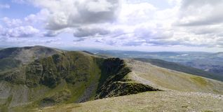 Panoramic of ridge path leading to Dollywagon Pike, Lake District Royalty Free Stock Photography