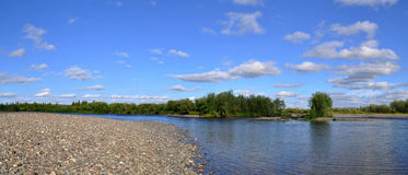 Panoramic river landscape in the polar Urals. Royalty Free Stock Image
