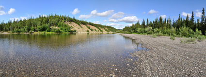 Panoramic river landscape in the polar Urals. Stock Photography