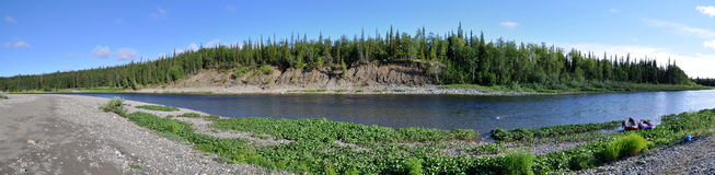Panoramic river landscape in the polar Urals. Royalty Free Stock Photos