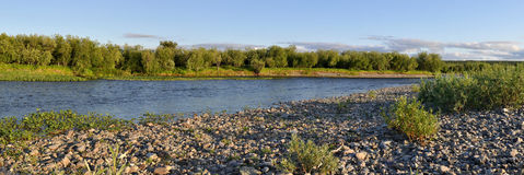 Panoramic river landscape in the polar Urals. Royalty Free Stock Photography