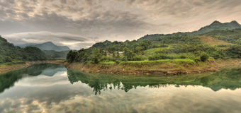 Panoramic river scenery Royalty Free Stock Photos
