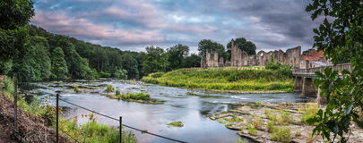 Panoramic of River Wear and Finchale Priory Stock Photos