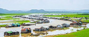 Panoramic riverside fishing villages of Dong Nai, Vietnam. With hundreds of friends along the left riverside rustic beauty create the lower Dong Nai River Stock Photos