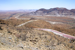 Panoramic road in namibian desert Stock Photography