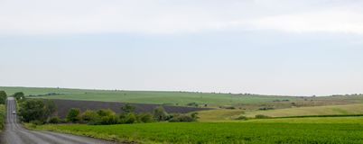 Panoramic road through plowed fields Stock Photos